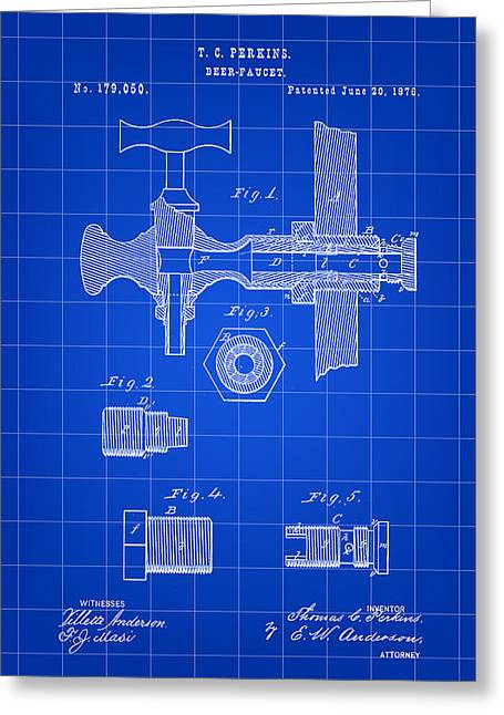 Beer Tap Patent 1876 - Blue Greeting Card by Stephen Younts