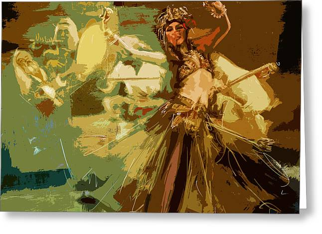 Dancer Art Greeting Cards - Abstract Belly Dancer 16 Greeting Card by Corporate Art Task Force
