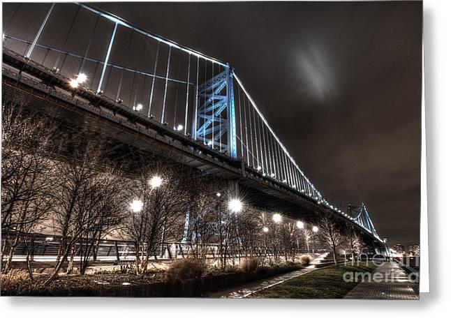 Ben Franklin Bridge At Night Greeting Card by Mark Ayzenberg