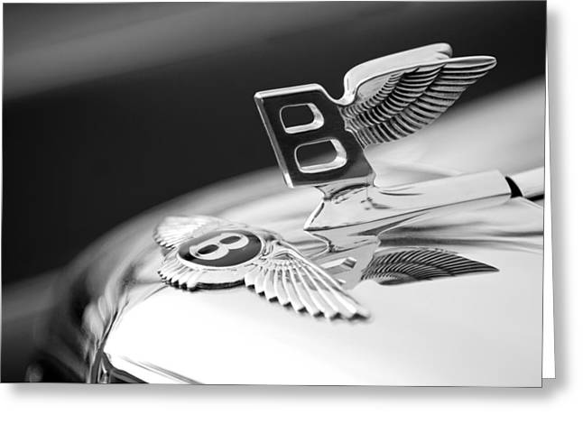Car Photography Greeting Cards - Bentley Hood Ornament Greeting Card by Jill Reger