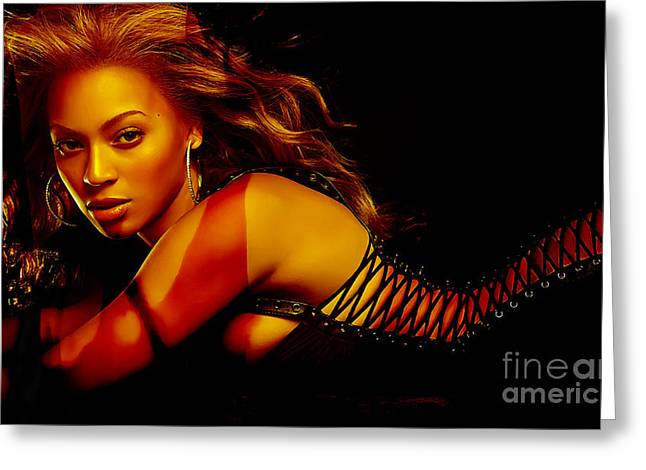 Musician Greeting Cards - Beyonce Greeting Card by Marvin Blaine