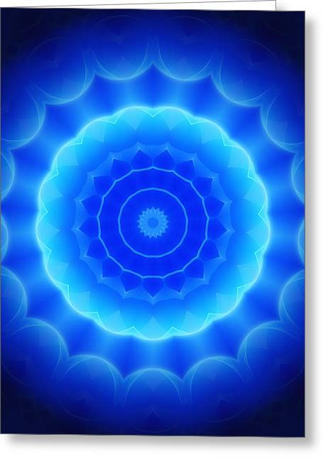 Geometric Style Greeting Cards - Blue Abstract Greeting Card by Modern Art Prints