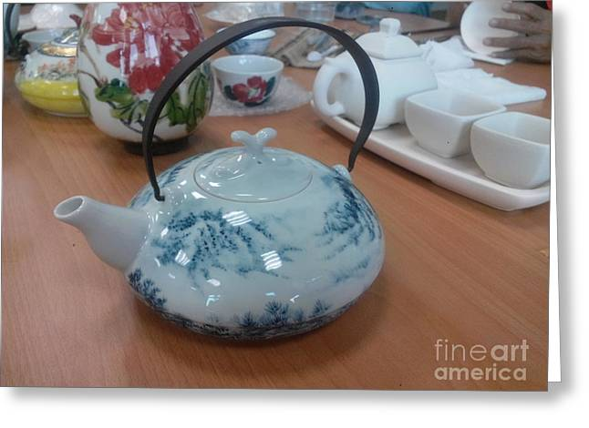 Blues Ceramics Greeting Cards - Blue And White Porcelain Greeting Card by Champion Chiang