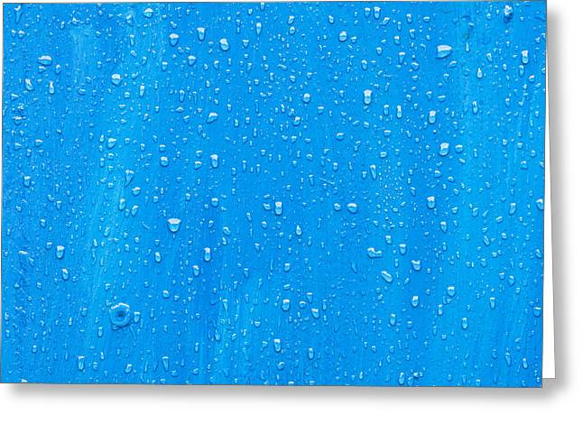 Droplet Greeting Cards - Blue wood Greeting Card by Tom Gowanlock