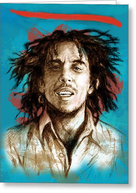 Lead Mixed Media Greeting Cards - Bob Marley stylised pop art drawing potrait poser Greeting Card by Kim Wang