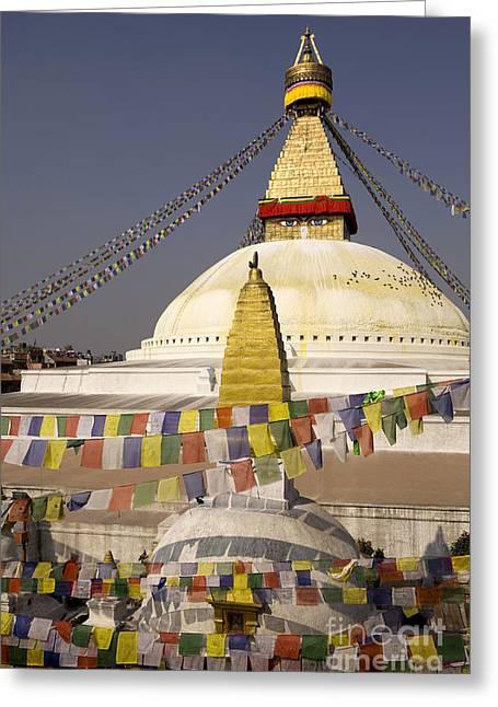 Tibetan Buddhism Greeting Cards - Bodnath Stupa Kathmandu Valley Nepal Greeting Card by Kevin Miller