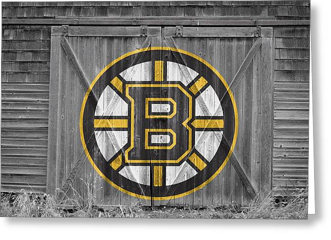 Skating Greeting Cards - Boston Bruins Greeting Card by Joe Hamilton