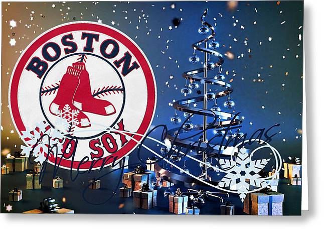 Baseball Field Greeting Cards - Boston Red Sox Greeting Card by Joe Hamilton