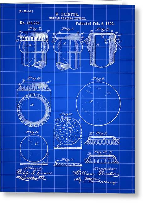 Bottle Cap Greeting Cards - Bottle Cap Patent 1892 - Blue Greeting Card by Stephen Younts