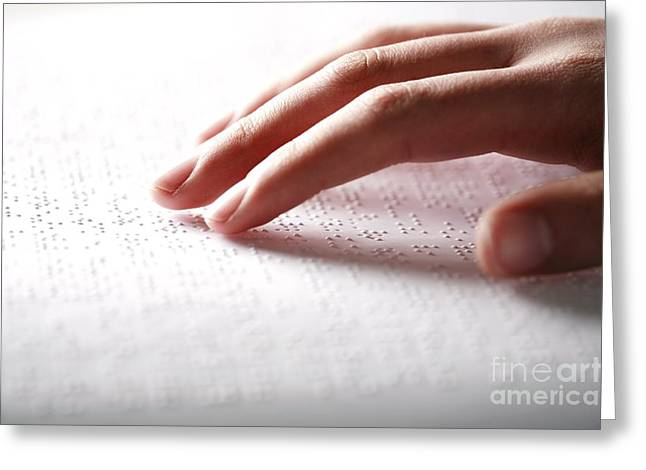 Communication Aids Greeting Cards - Braille Reading Greeting Card by Mauro Fermariello