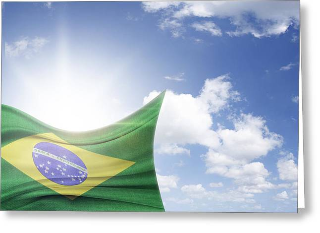 Flag Day Greeting Cards - Brazilian flag Greeting Card by Les Cunliffe