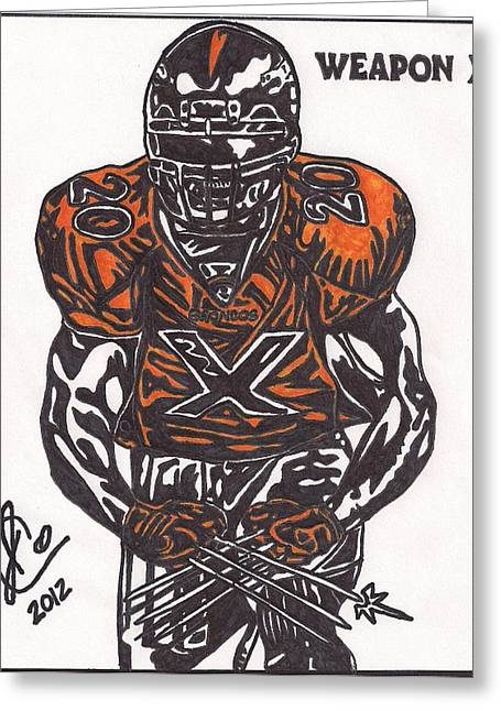 Player Drawings Greeting Cards - Brian Dawkins Greeting Card by Jeremiah Colley