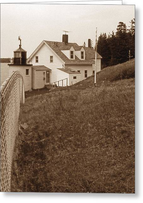 Maine Beach Greeting Cards - Browns Head Lighthouse Greeting Card by Skip Willits