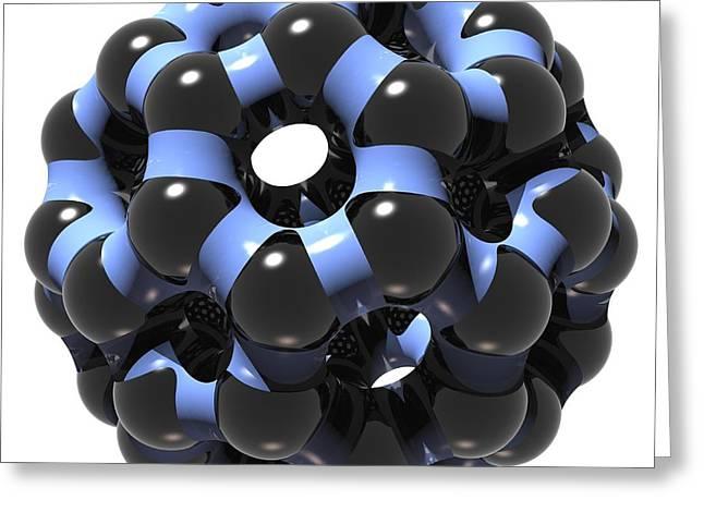 Truncated Greeting Cards - Buckminsterfullerene Molecule Greeting Card by Russell Kightley