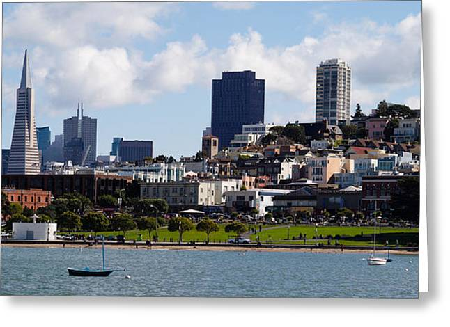 Downtown San Francisco Photographs Greeting Cards - Buildings At The Waterfront Greeting Card by Panoramic Images