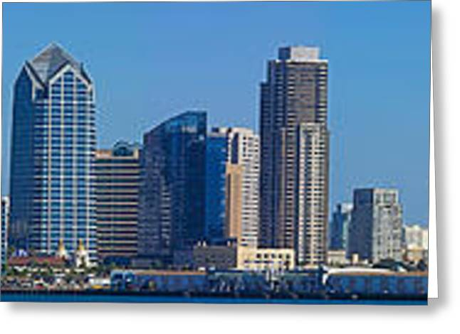 Aircraft Carrier Greeting Cards - Buildings At The Waterfront, San Diego Greeting Card by Panoramic Images