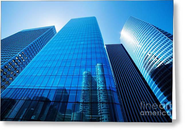 Enterprise Photographs Greeting Cards - Business skyscrapers Greeting Card by Michal Bednarek