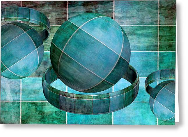 Spheres Mixed Media Greeting Cards - 5 By 5 Ocean Geometric Shapes Greeting Card by Angelina Vick