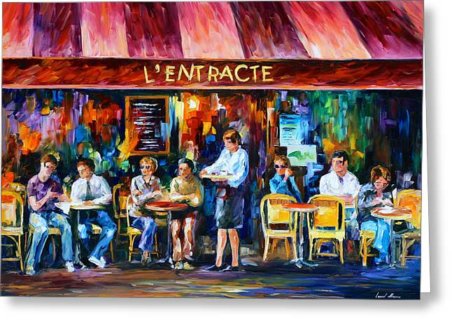 Amazing Stories Greeting Cards - Cafe In Paris Greeting Card by Leonid Afremov