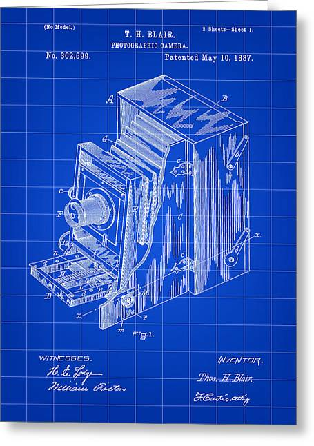 Camera Patent 1887 - Blue Greeting Card by Stephen Younts