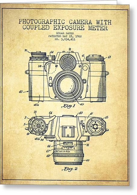 Famous Photographer Greeting Cards - Camera Patent Drawing From 1962 Greeting Card by Aged Pixel