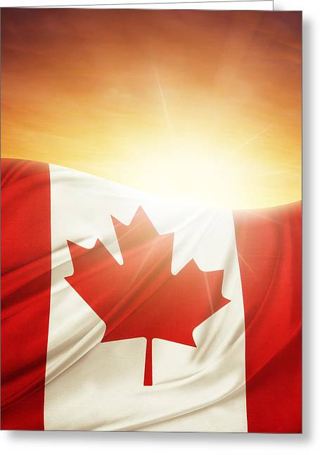 Flying Flag Greeting Cards - Canadian flag Greeting Card by Les Cunliffe