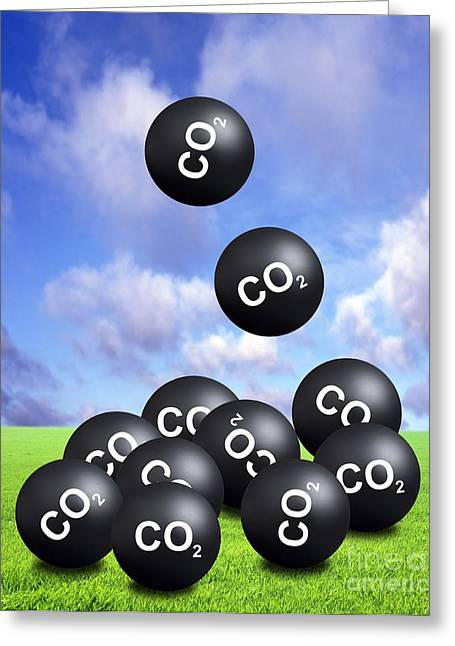 Carbon Dioxide Greeting Cards - Carbon Dioxide And Climate Change Greeting Card by Victor de Schwanberg