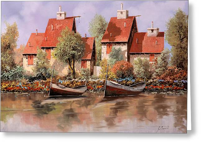 5 Case E 2 Barche Greeting Card by Guido Borelli