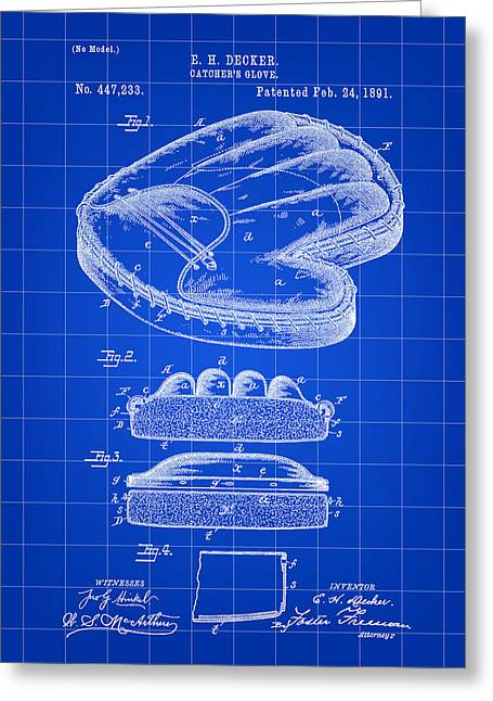 Fast Ball Digital Greeting Cards - Catchers Glove Patent 1891 - Blue Greeting Card by Stephen Younts