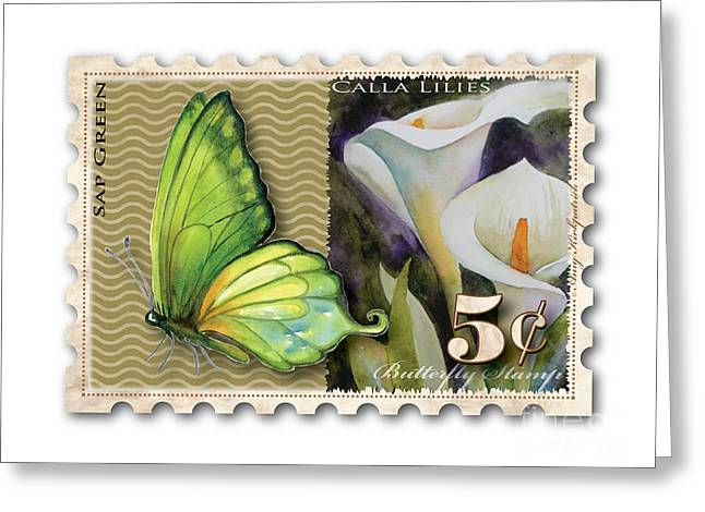 Calla Lily Greeting Cards - 5 Cent Butterfly Stamp Greeting Card by Amy Kirkpatrick