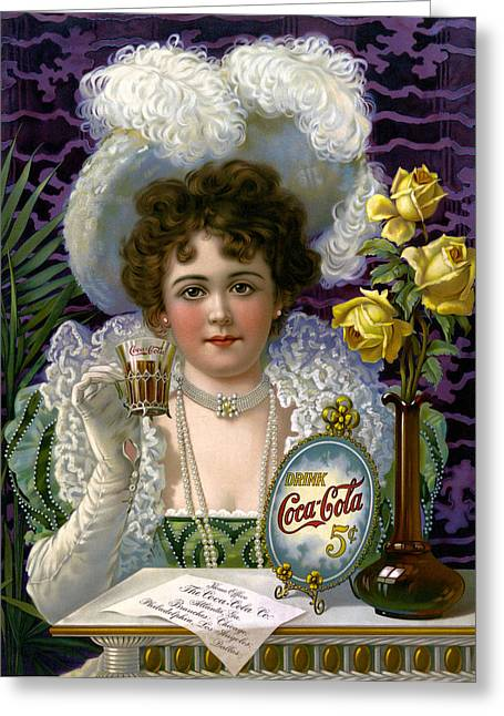 The Real Thing Greeting Cards - 5 Cent Coca Cola - 1890 Greeting Card by Daniel Hagerman