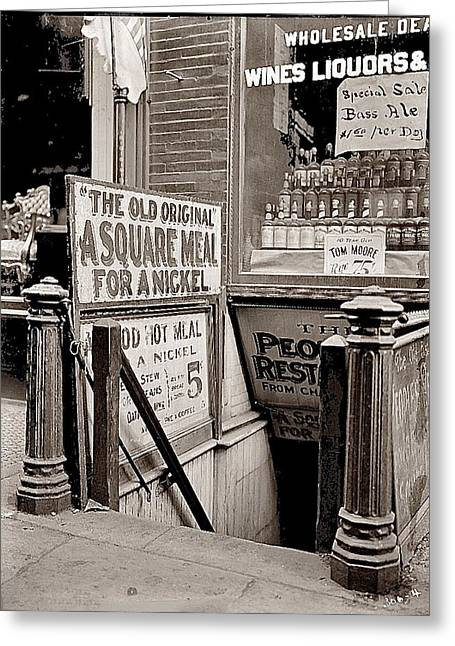 5 Cents Greeting Cards - 5 cent restaurant 8x10 glass negative George  Bain Collection  Bowery New York c. 1910-2012 Greeting Card by David Lee Guss