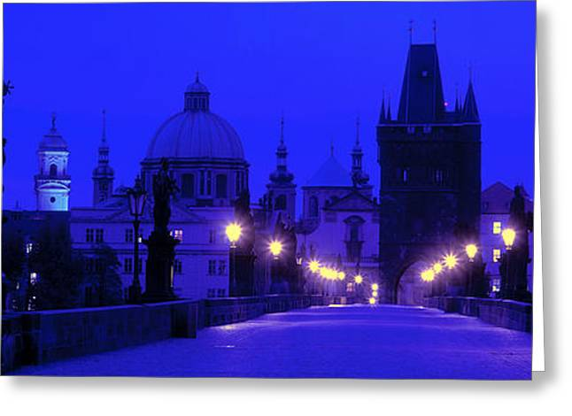Night Lamp Greeting Cards - Charles Bridge, Prague, Czech Republic Greeting Card by Panoramic Images