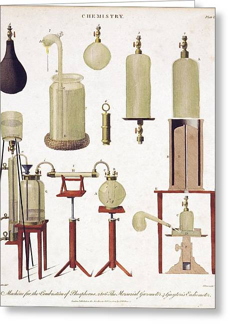 Laboratory Equipment Greeting Cards - Chemistry equipment, early 19th century Greeting Card by Science Photo Library