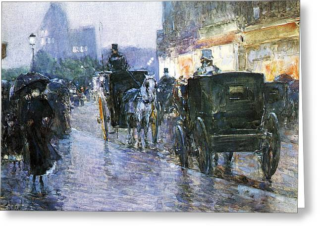 New York Evening Post Greeting Cards - Horse Drawn Cabs at Evening Greeting Card by Childe Hassam