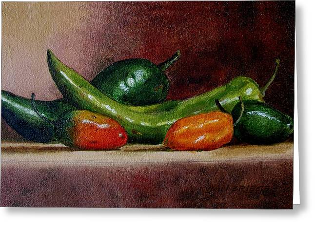 5 Chilies Greeting Card by Jan Brieger-Scranton