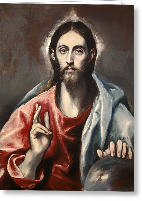 Religious Artwork Paintings Greeting Cards - Christ Blessing Greeting Card by El Greco