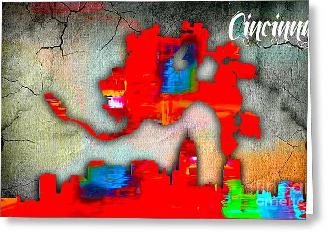 Cincinnati Map And Skyline Watercolor Greeting Card by Marvin Blaine
