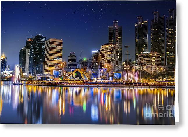 Work Area Greeting Cards - City town at night Greeting Card by Anek Suwannaphoom