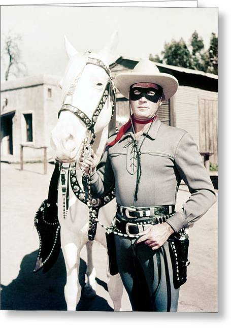 Clayton Photographs Greeting Cards - Clayton Moore in The Lone Ranger  Greeting Card by Silver Screen