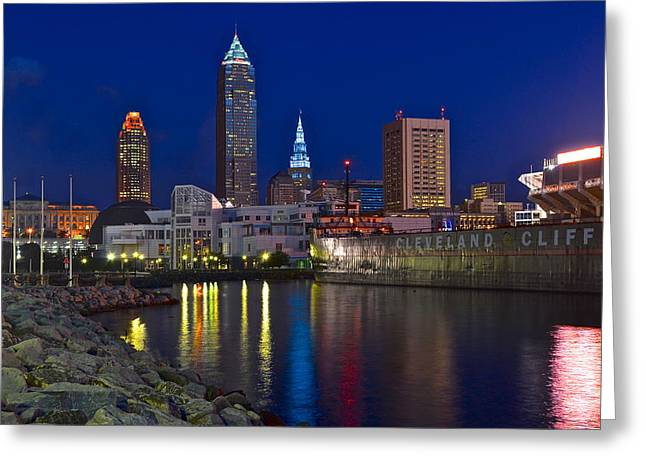 Town Square Greeting Cards - Cleveland Ohio  Greeting Card by Frozen in Time Fine Art Photography