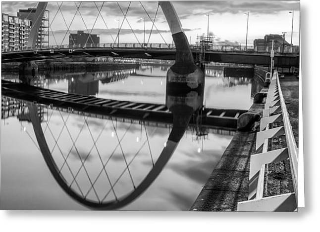Clyde Arc Squinty Bridge Greeting Card by John Farnan