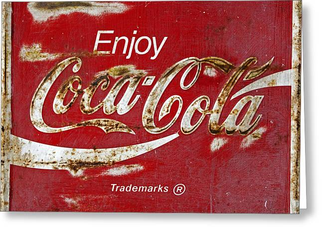 Coke Black Greeting Cards - Coca Cola Vintage Rusty Sign Greeting Card by John Stephens