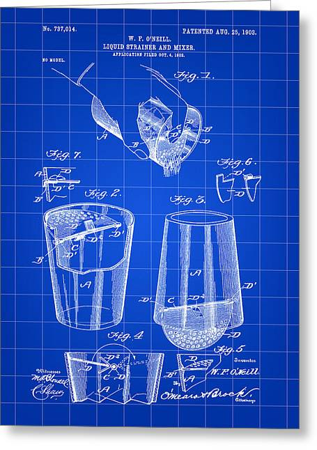 Strainer Greeting Cards - Cocktail Mixer and Strainer Patent 1902 - Blue Greeting Card by Stephen Younts