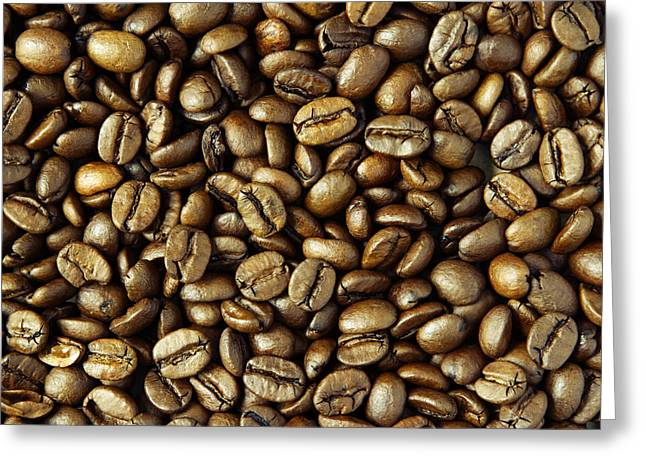 Bean Greeting Cards - Coffee beans Greeting Card by Les Cunliffe
