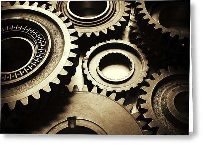 Best Sellers -  - Mechanism Photographs Greeting Cards - Cogs Greeting Card by Les Cunliffe