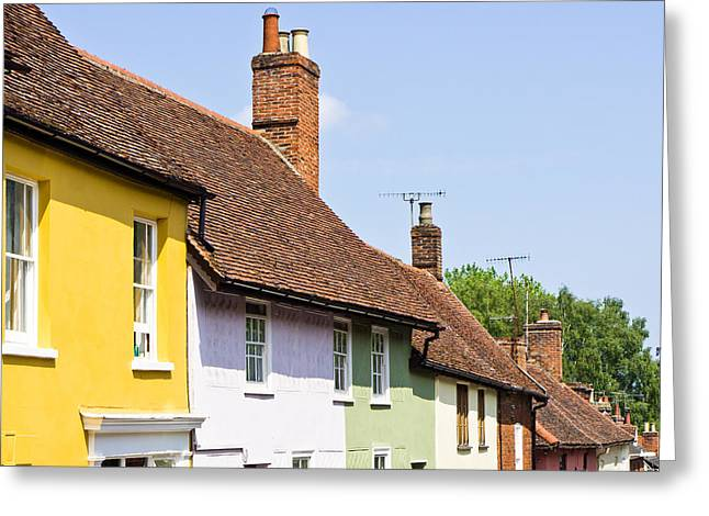 Old Neighbourhood Greeting Cards - Colorful cottages Greeting Card by Tom Gowanlock