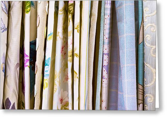 Chic Greeting Cards - Colorful fabrics Greeting Card by Tom Gowanlock