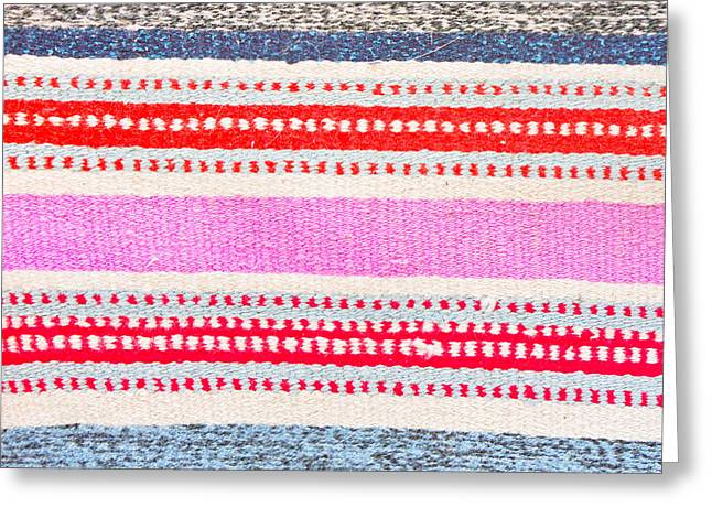 Tapestries Textiles Greeting Cards - Colorful rug Greeting Card by Tom Gowanlock