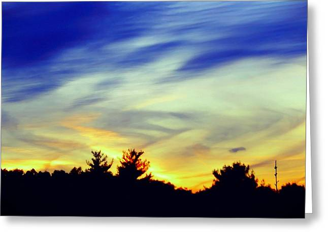 Amazing Sunset Mixed Media Greeting Cards - Colorful Sunset sky Greeting Card by Lilia D